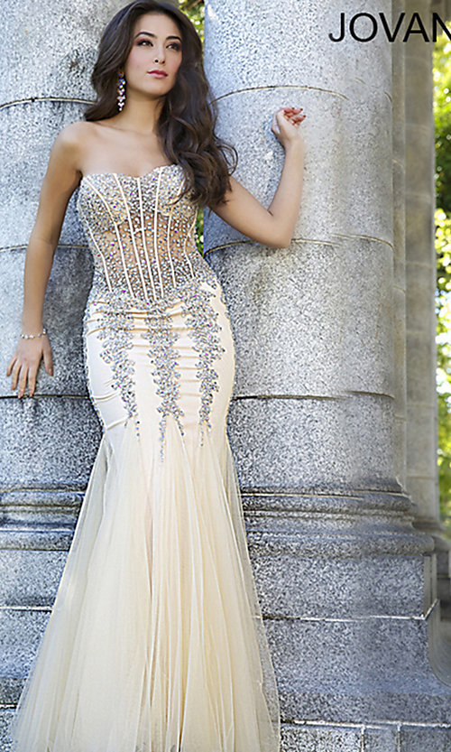 Sequin Gown with Open Back, Scala Sequin Long