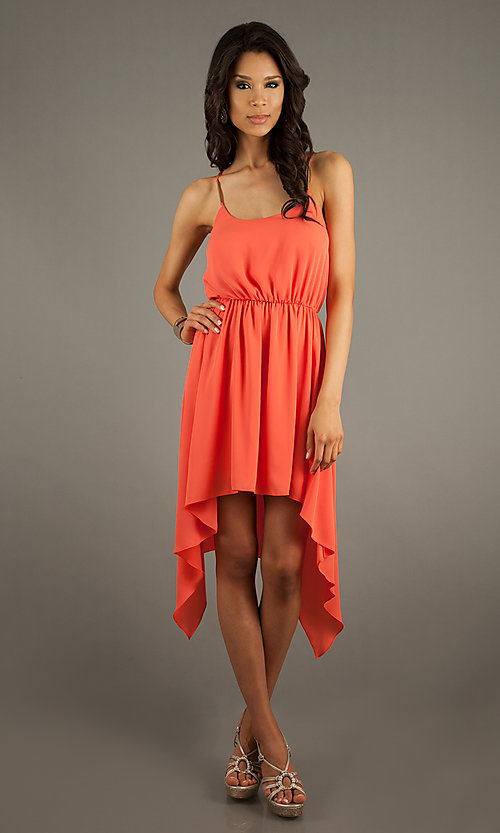 Casual High Low Spaghetti Strap Dress
