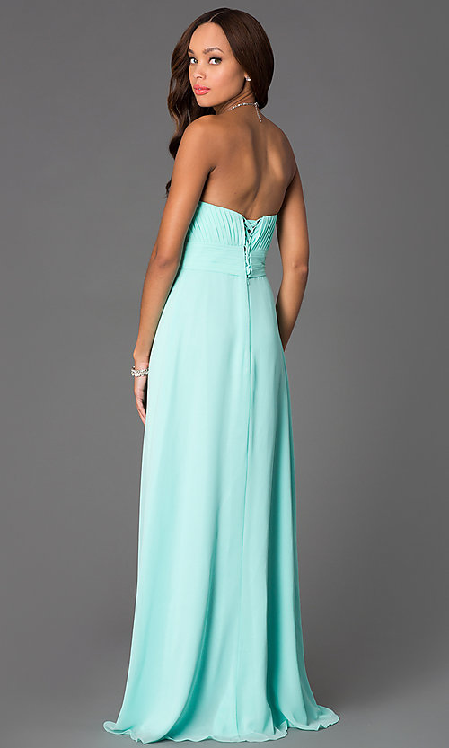 Image of Long Strapless Empire Waist Prom Dress Style: DQ-8658 Back Image