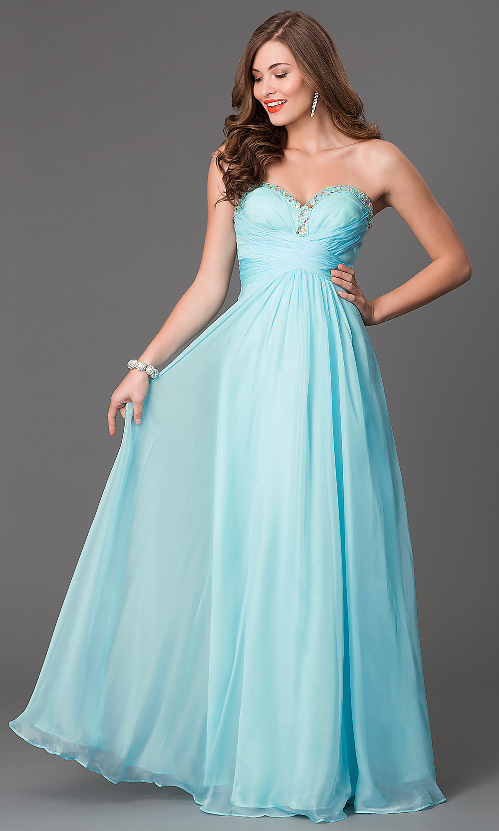 Mint Green Prom Gowns, Strapless Prom Dresses
