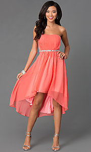 Image of strapless high low beaded waistline dress Style: DQ-8626 Detail Image 2