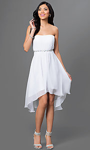 Image of strapless high low beaded waistline dress Style: DQ-8626 Detail Image 1