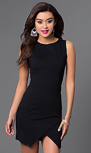 Image of short sleeveless dress with mock-wrap skirt. Style: CH-2348 Detail Image 2