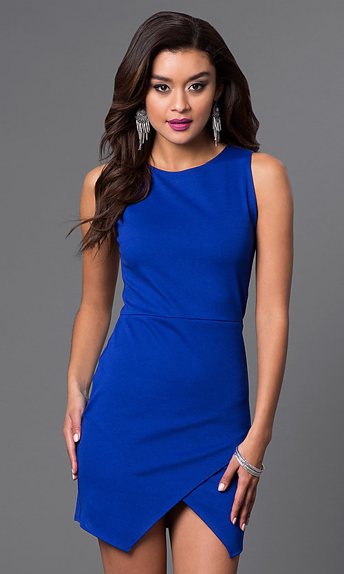 Image of short sleeveless dress with mock-wrap skirt. Style: CH-2348 Detail Image 3
