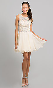 Image of short sleeveless beaded fit-and-flare party dress. Style: DQ-8708 Detail Image 1