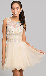Image of short sleeveless beaded fit-and-flare party dress. Style: DQ-8708 Front Image