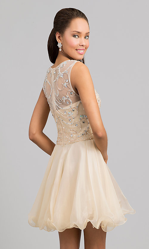 Image of short sleeveless beaded fit-and-flare party dress. Style: DQ-8708 Back Image
