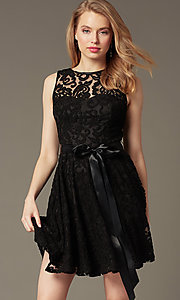 Image of sleeveless lace party dress with high scoop neck.  Style: SF-8760 Detail Image 2