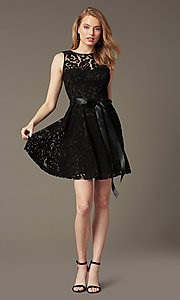 Image of sleeveless lace party dress with high scoop neck.  Style: SF-8760 Detail Image 4