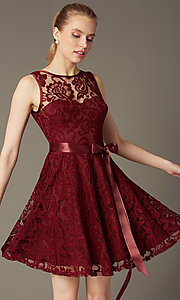 Image of sleeveless lace party dress with high scoop neck.  Style: SF-8760 Front Image