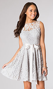 Image of sleeveless lace party dress with high scoop neck.  Style: SF-8760 Detail Image 5