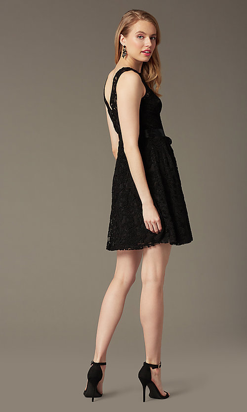 Image of sleeveless lace party dress with high scoop neck.  Style: SF-8760 Detail Image 3