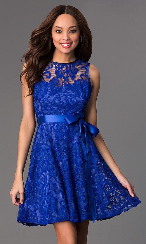 Image of sleeveless lace party dress with high scoop neck.  Style: SF-8760 Detail Image 6