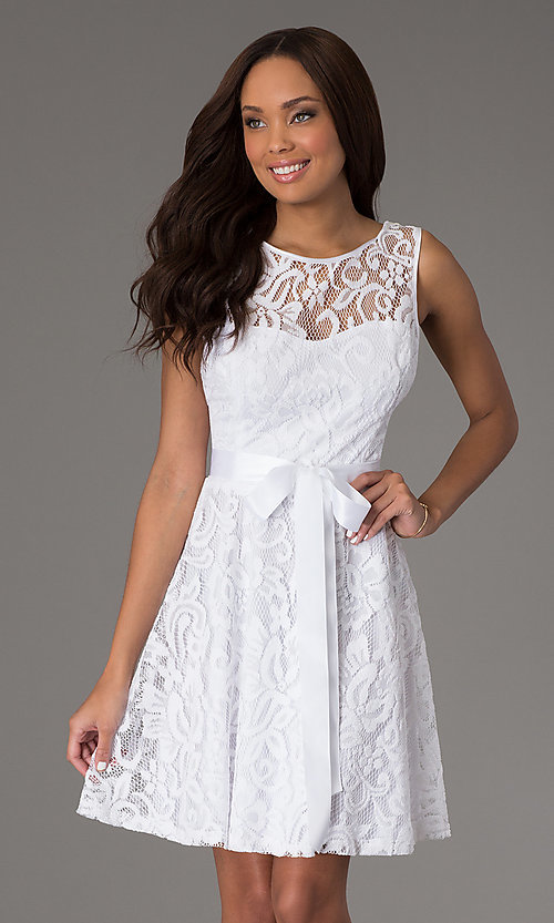 Image of sleeveless lace party dress with high scoop neck.  Style: SF-8760 Detail Image 7