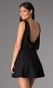 Image of short v-neck sleeveless a-line party dress. Style: CH-2435 Back Image