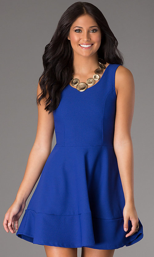 Image of short sleeveless scoop-neck day-to-night dress.  Style: CH-2399 Detail Image 2