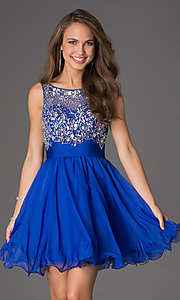 Image of short sleeveless beaded scoop-neck party dress. Style: DQ-8806 Front Image
