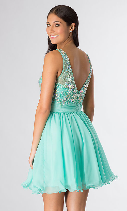 Image of short sleeveless beaded scoop-neck party dress. Style: DQ-8806 Back Image