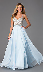 Image of long dress by Dave and Johnny with jewel embellished bodice. Style: DJ-489 Front Image