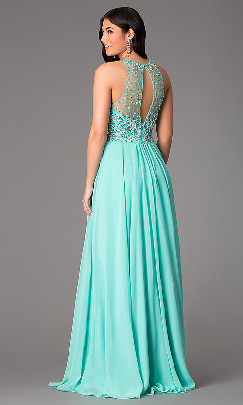 Image of Beaded Gown with Sheer Back Faviana S7560 Style: FA-S7560 Back Image