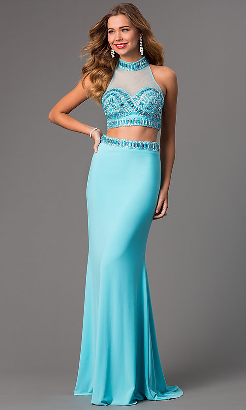 Image of Long High Neck Two Piece Dress FA-S7506 Style: FA-S7506 Detail Image 2