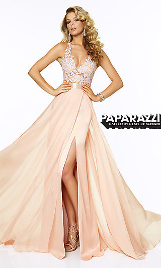 Mori Lee V-Neck Long Lace Prom Gown