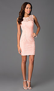 Image of short sleeveless lace scoop neck dress Style: DQ-8767 Detail Image 1