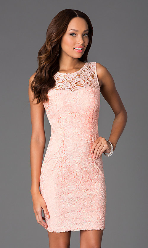 Image of short sleeveless lace scoop neck dress Style: DQ-8767 Front Image
