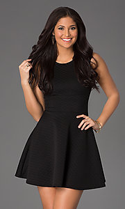 Image of short scoop-neck a-line casual party dress. Style: CH-2451 Front Image