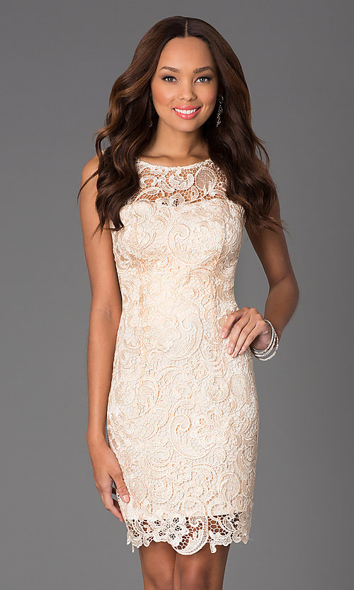 Image of knee-length lace v-back sleeveless cocktail dress. Style: DQ-8842 Detail Image 1