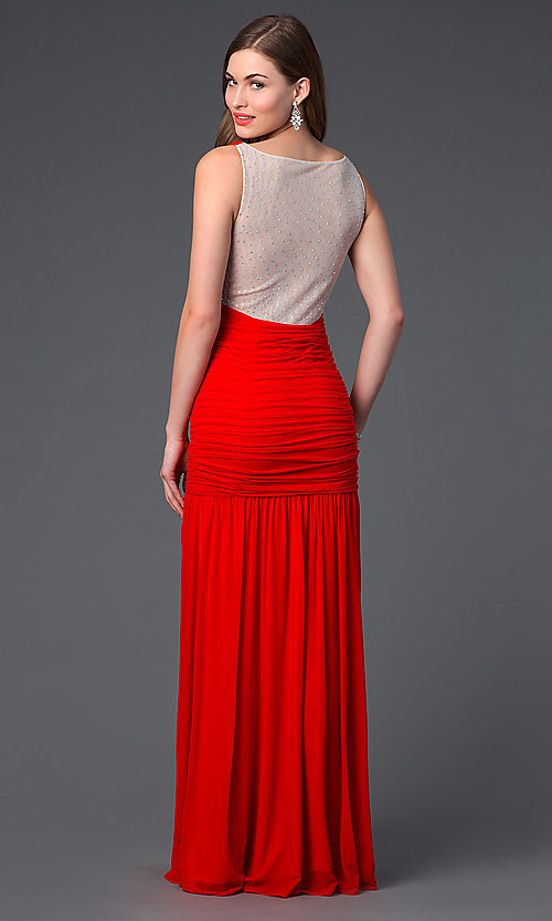 Image of long ruched red dress Style: HL-211s62730 Back Image