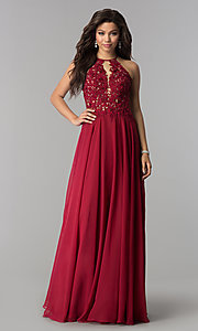 Image of Blush  Long Lace Open Back Prom Dress  Style: BL-PG006 Detail Image 2