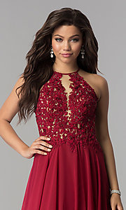 Image of Blush  Long Lace Open Back Prom Dress  Style: BL-PG006 Detail Image 4