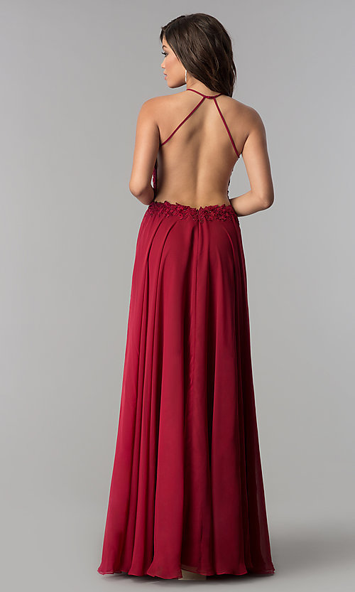 Image of Blush  Long Lace Open Back Prom Dress  Style: BL-PG006 Detail Image 3