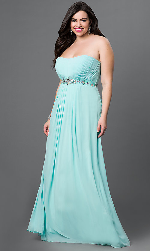 Image of long strapless prom dress with pleated bodice. Style: DQ-8747 Front Image