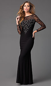 Image of long lace-bodice prom dress with long sleeves. Style: DQ-8720 Front Image