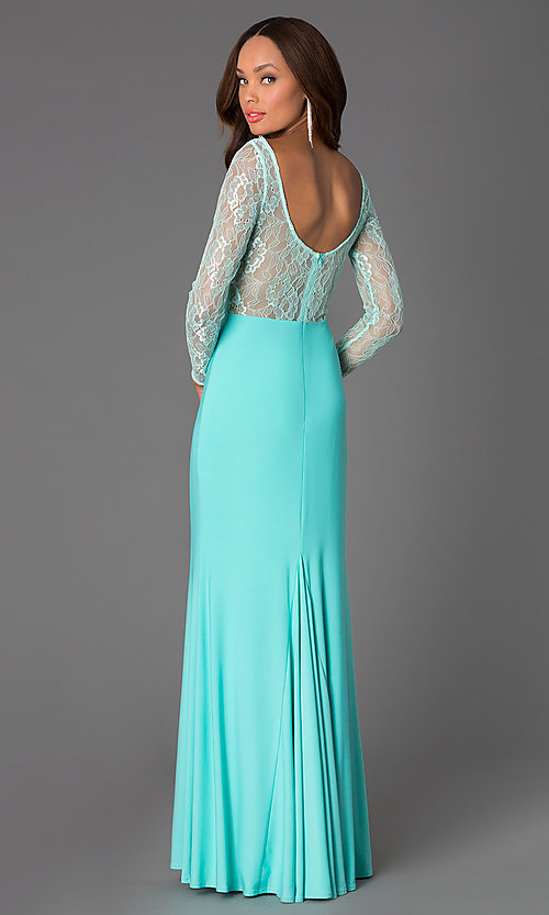 Image of long lace-bodice prom dress with long sleeves. Style: DQ-8720 Back Image