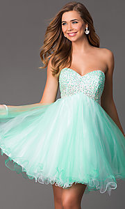 Image of Short Strapless Empire Waist Party Dress Style: HOW-DA-52348 Front Image