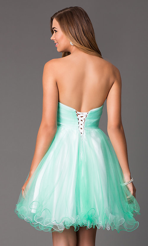 Image of Short Strapless Empire Waist Party Dress Style: HOW-DA-52348 Back Image
