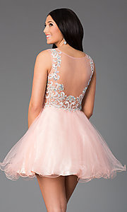 Image of Short Sleeveless Illusion Bodice Dress  Style: DQ-8850 Back Image