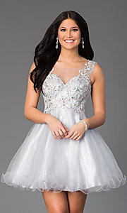 Image of Short Sleeveless Illusion Bodice Dress  Style: DQ-8850 Front Image