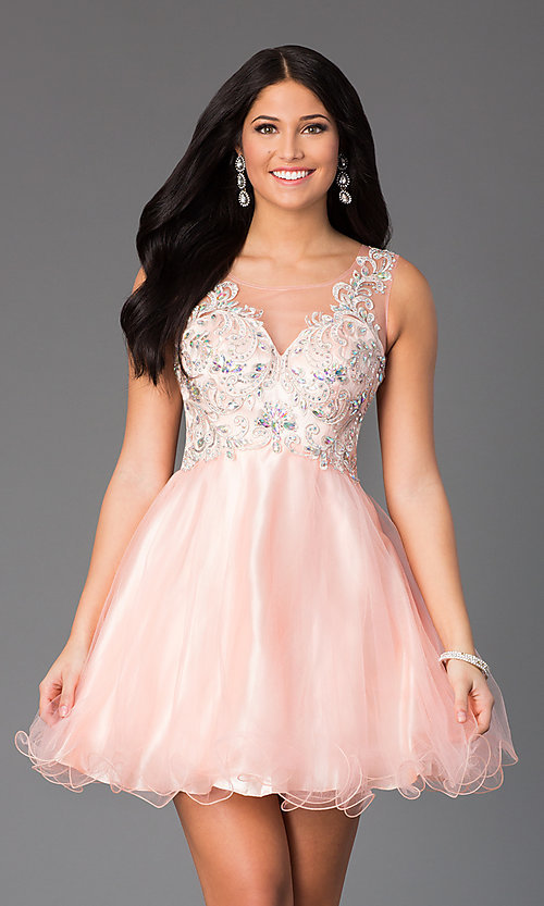 Image of Short Sleeveless Illusion Bodice Dress  Style: DQ-8850 Detail Image 1