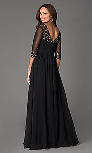 Image of floor-length v-neck dress with sheer sleeves Style: DQ-8855 Back Image