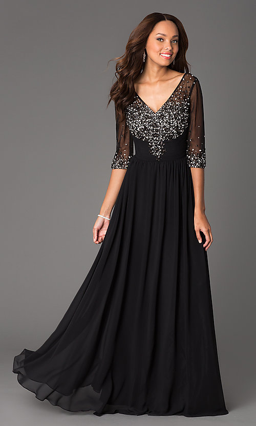 Image of floor-length v-neck dress with sheer sleeves Style: DQ-8855 Detail Image 1