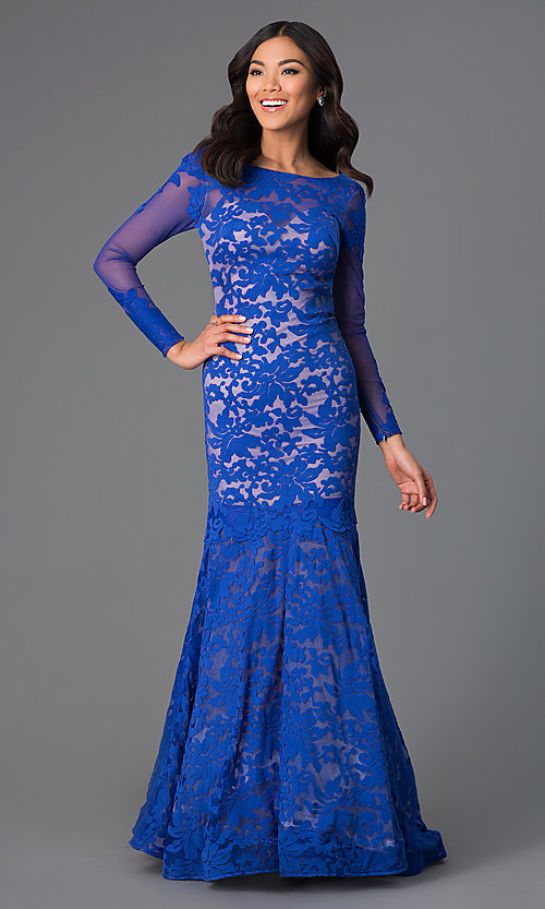 Image of Open Back Lace Mermaid Gown by Xtreme Style: XT-32550 Detail Image 2