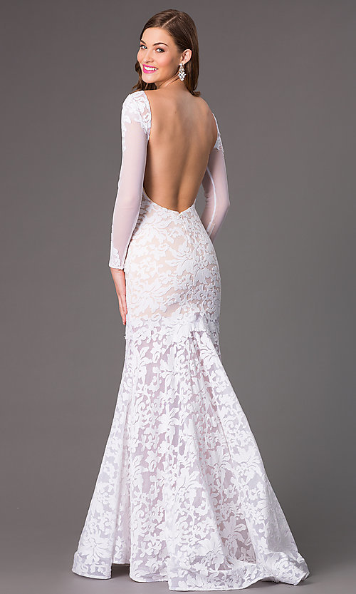 Image of Open Back Lace Mermaid Gown by Xtreme Style: XT-32550 Back Image