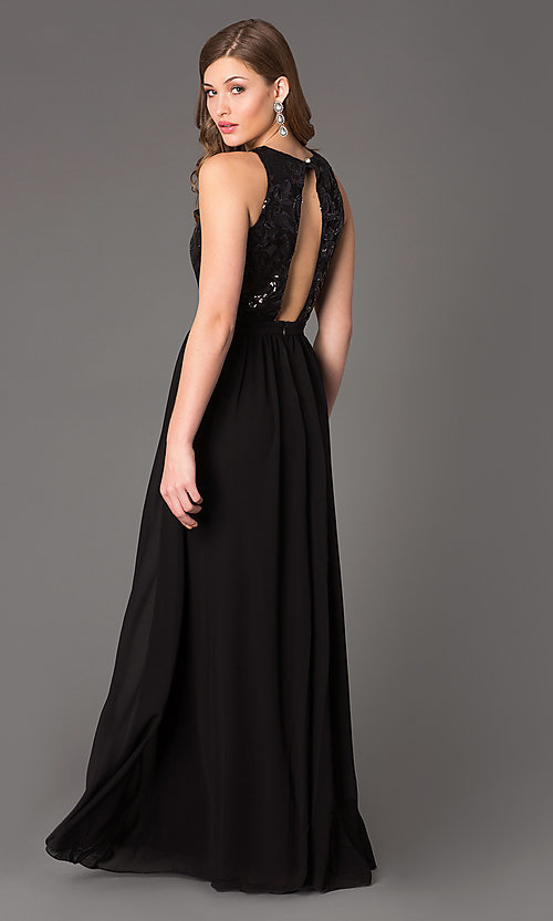 Image of Sleeveless Open Back Floor Length Gown Style: TW-4133 Back Image