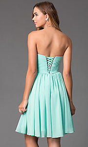 Image of ruched-bodice strapless corset-back party dress. Style: DQ-8951 Back Image