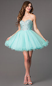 Image of short strapless jewel embellished bodice tulle skirt sweetheart dress  Style: DQ-9001 Detail Image 1