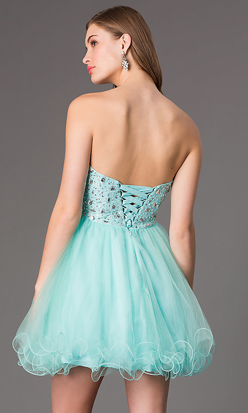 Image of short strapless jewel embellished bodice tulle skirt sweetheart dress  Style: DQ-9001 Back Image